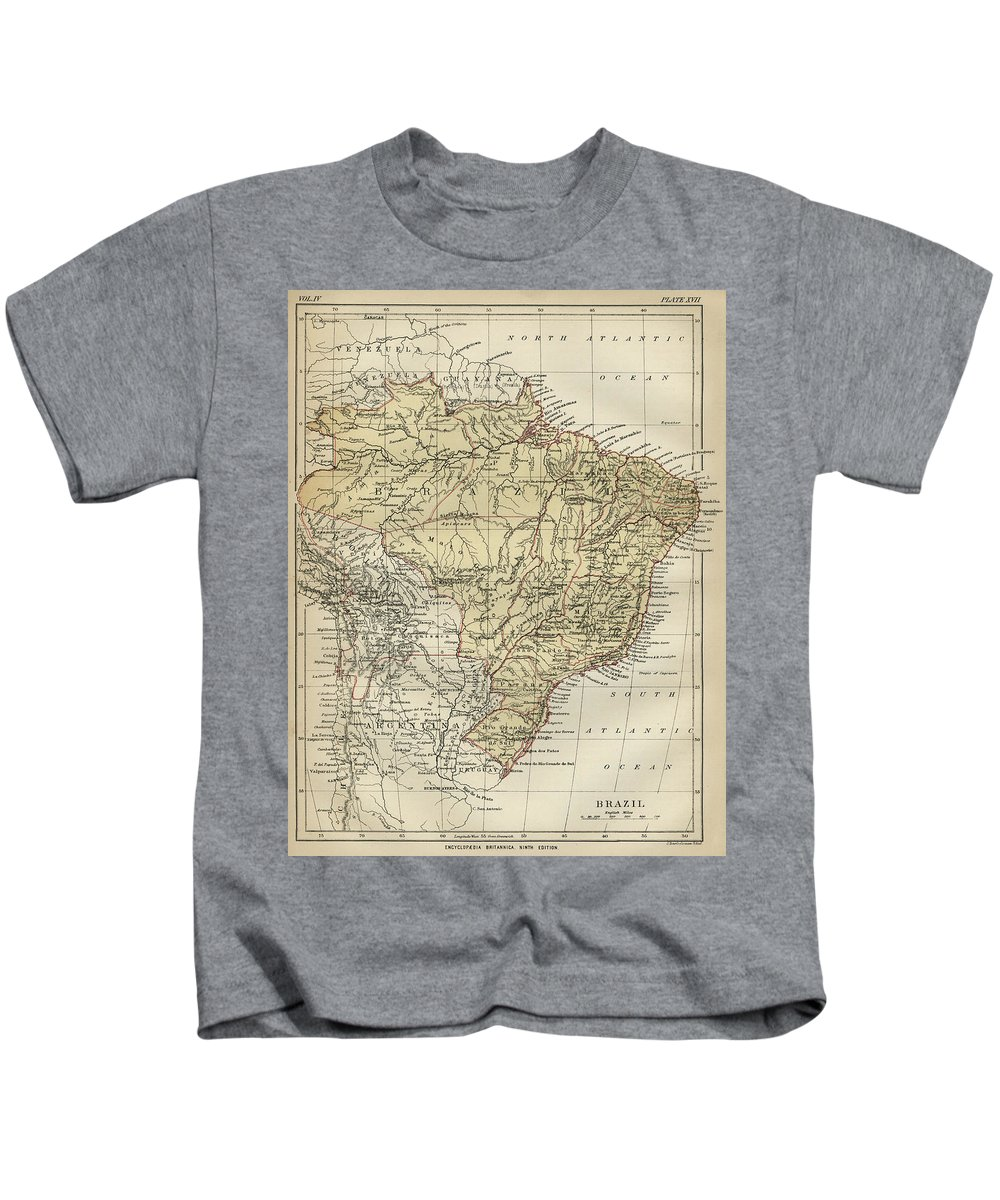 Brazil Kids T-Shirt featuring the drawing Vintage Map Of Brazil - 1889 by CartographyAssociates