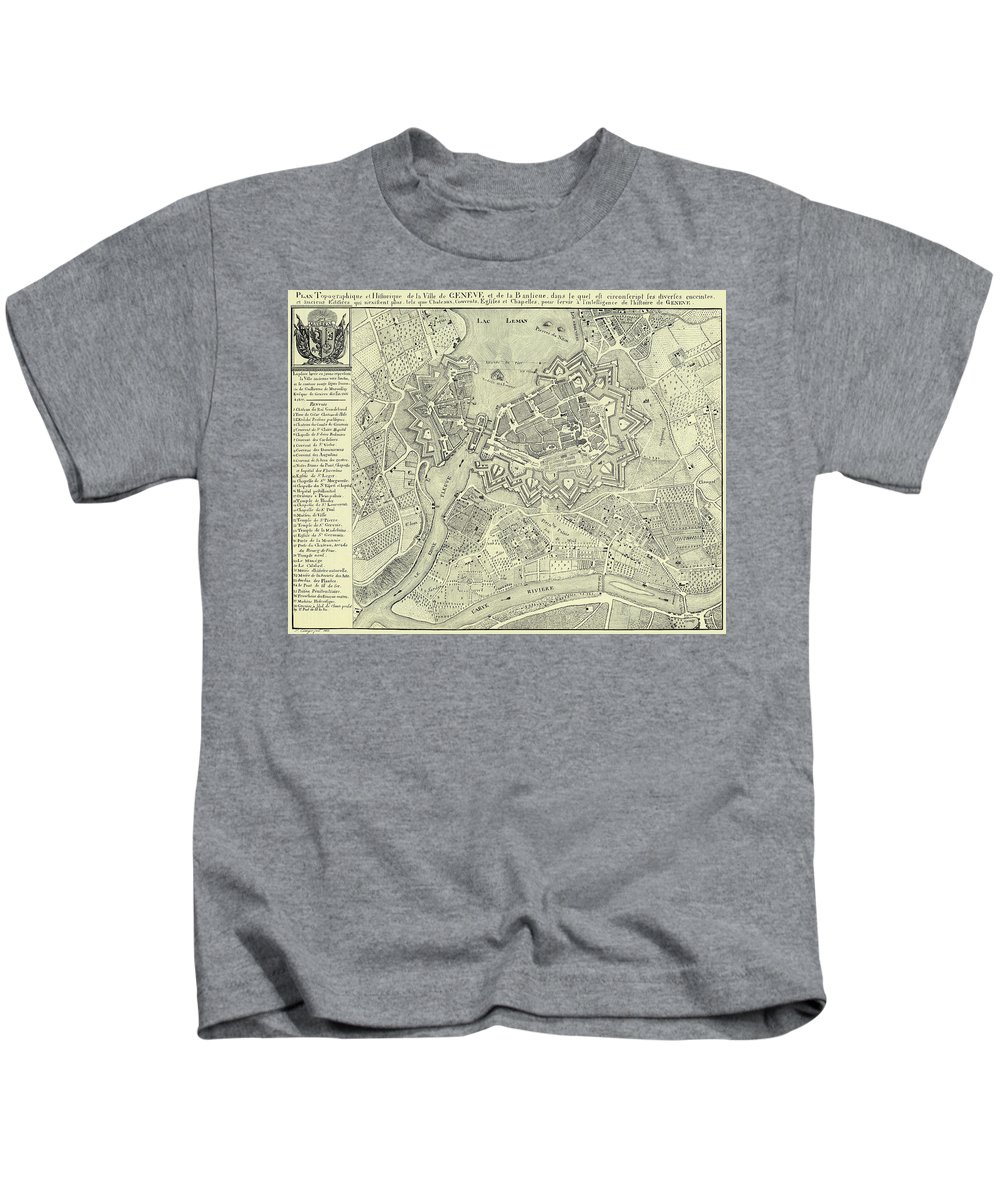 Geneva Kids T-Shirt featuring the drawing Vintage Map Of Geneva Switzerland - 1825 by CartographyAssociates
