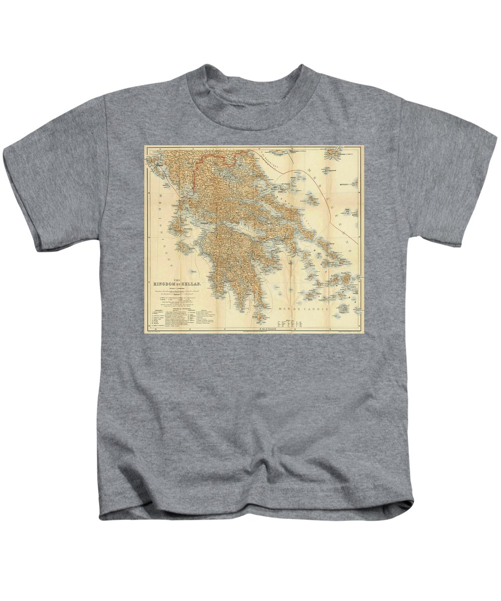 Greece Kids T-Shirt featuring the drawing Vintage Map Of Greece - 1894 by CartographyAssociates