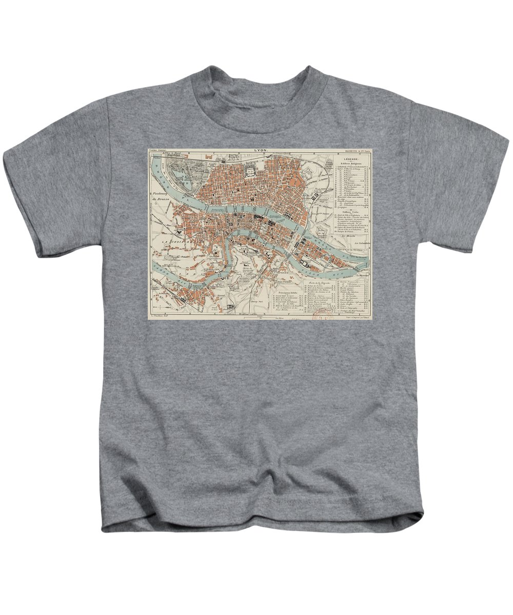 Lyon Kids T-Shirt featuring the drawing Vintage Map Of Lyon France - 1888 by CartographyAssociates