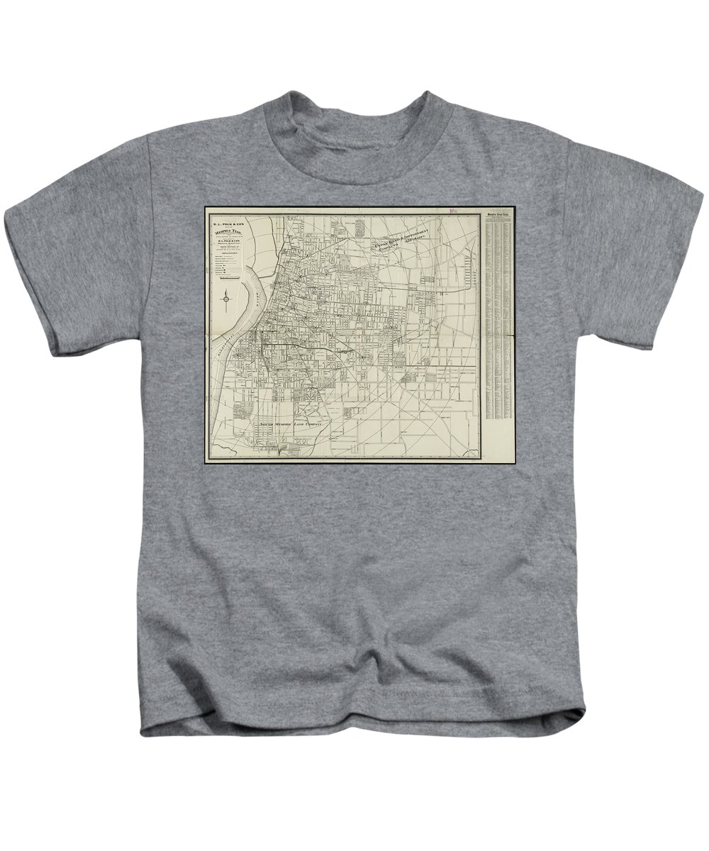 Memphis Kids T-Shirt featuring the drawing Vintage Map Of Memphis Tennessee - 1911 by CartographyAssociates