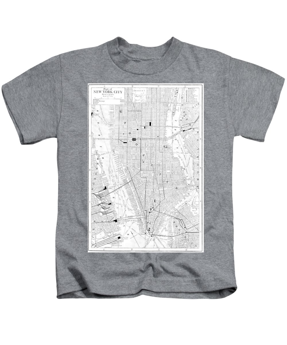 New York City Kids T-Shirt featuring the drawing Vintage Map Of New York City - 1911 by CartographyAssociates