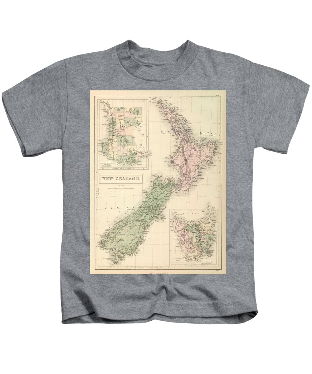 New Zealand Kids T-Shirt featuring the drawing Vintage Map Of New Zealand - 1854 by CartographyAssociates