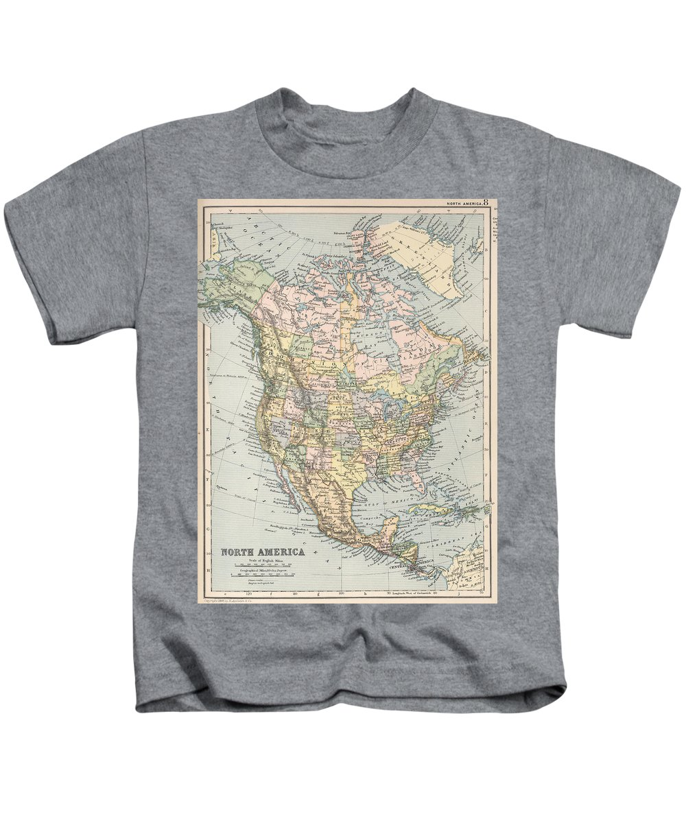 North America Kids T-Shirt featuring the drawing Vintage Map Of North America - 1892 by CartographyAssociates