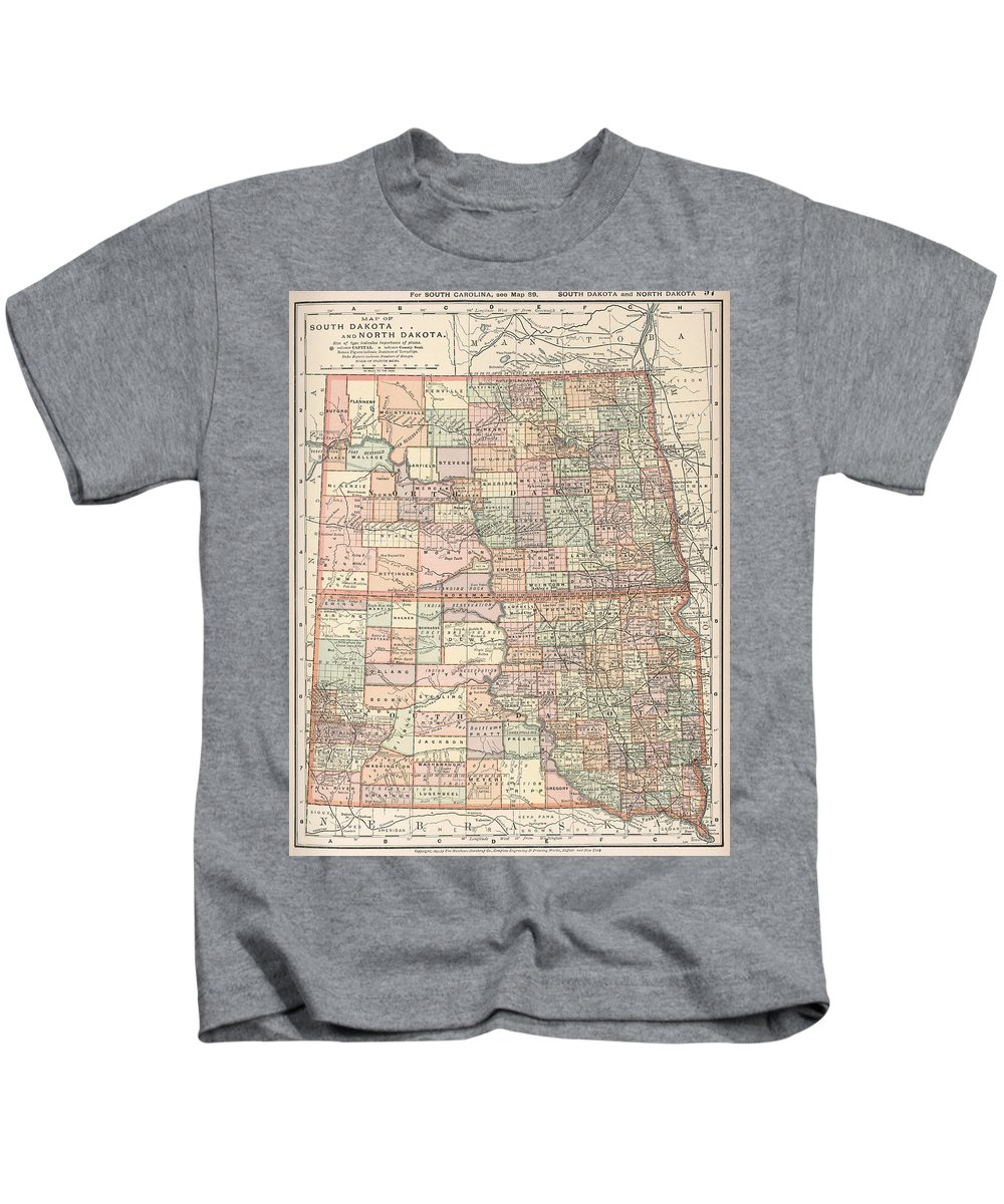 North South Dakota Kids T-Shirt featuring the drawing Vintage Map Of North And South Dakota - 1891 by CartographyAssociates