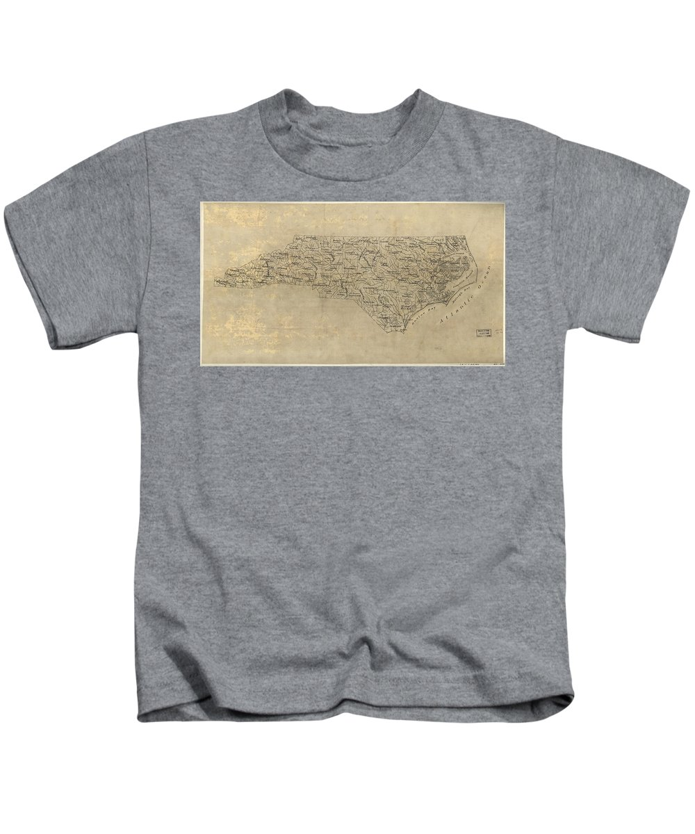 North Carolina Kids T-Shirt featuring the drawing Vintage Map Of North Carolina - 1893 by CartographyAssociates
