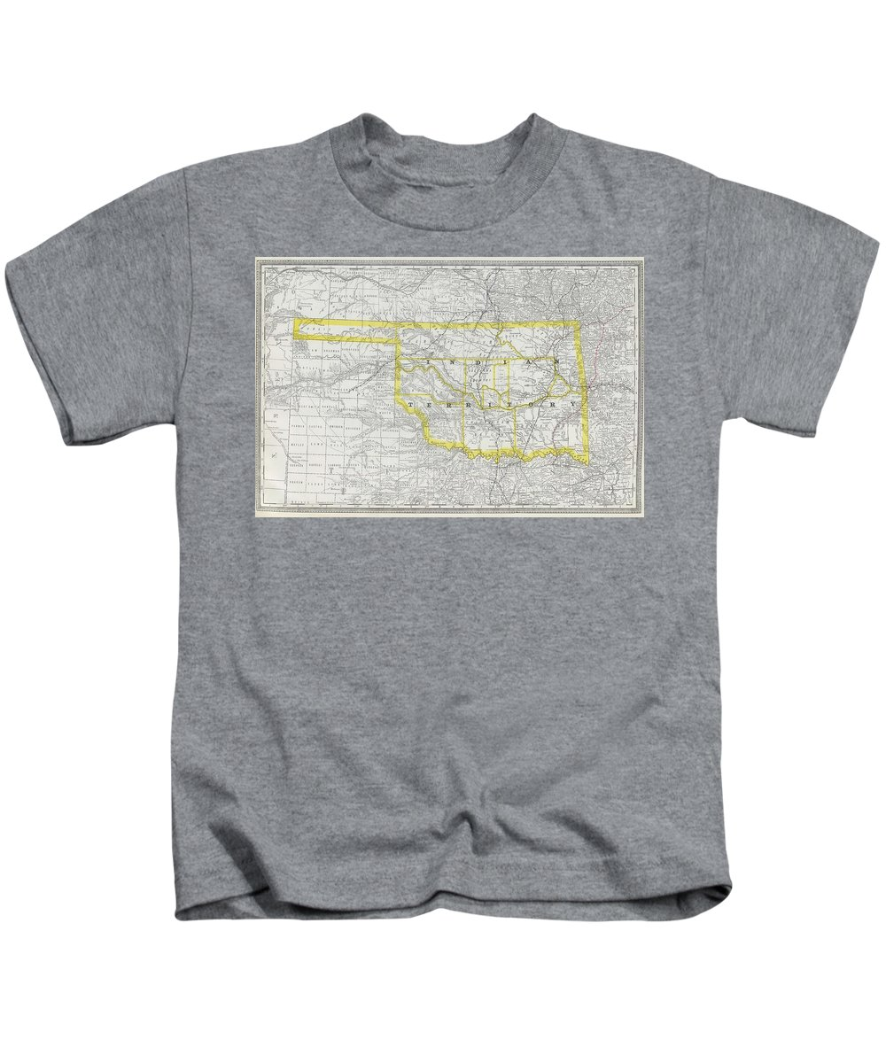 Oklahoma Kids T-Shirt featuring the drawing Vintage Map Of Oklahoma - 1889 by CartographyAssociates