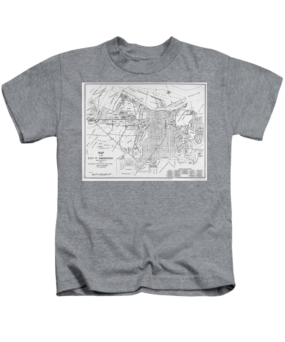 Savannah Kids T-Shirt featuring the drawing Vintage Map Of Savannah Georgia - 1910 by CartographyAssociates