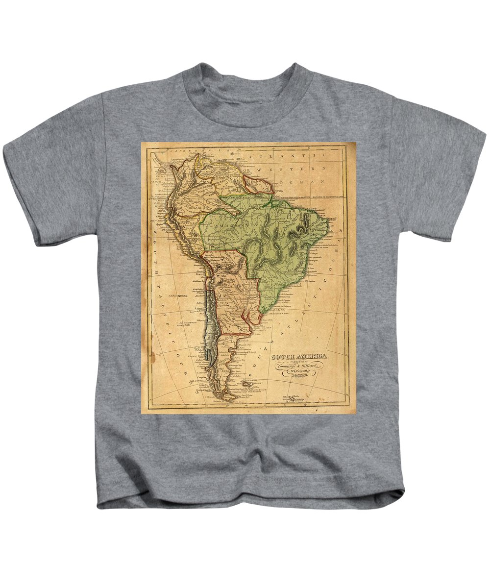 South America Kids T-Shirt featuring the drawing Vintage Map Of South America - 1821 by CartographyAssociates