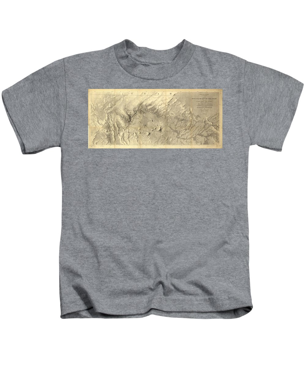 Colorado River Kids T-Shirt featuring the drawing Vintage Map Of The Colorado River - 1858 by CartographyAssociates