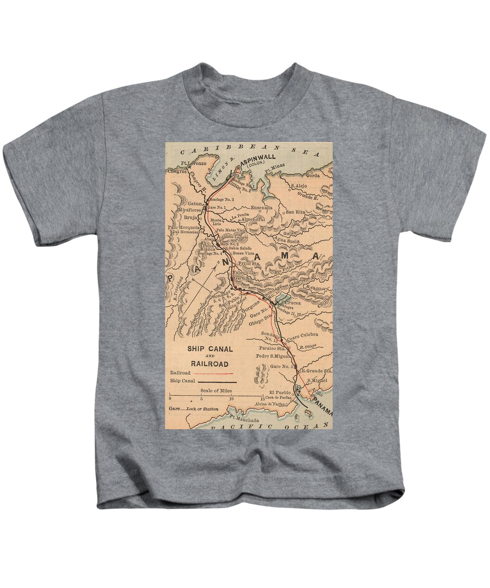 Panama Canal Kids T-Shirt featuring the drawing Vintage Map Of The Panama Canal - 1885 by CartographyAssociates