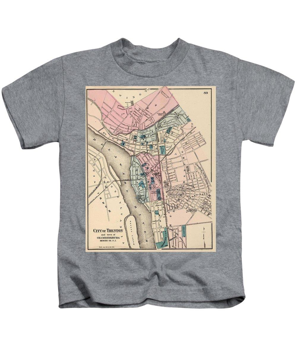 Trenton New Kids T-Shirt featuring the drawing Vintage Map Of Trenton Nj - 1872 by CartographyAssociates