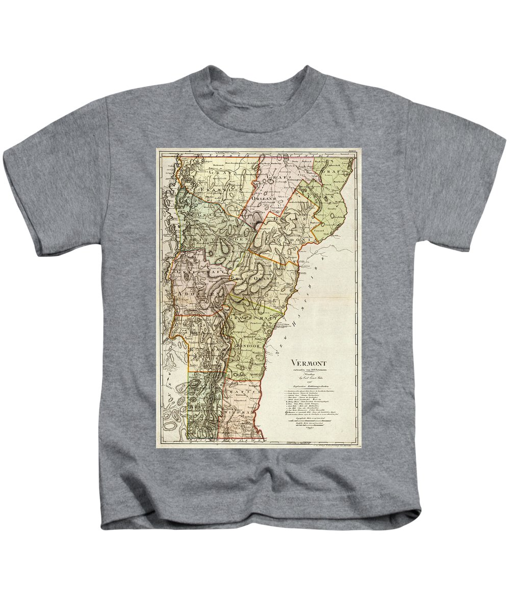 Vermont Kids T-Shirt featuring the drawing Vintage Map Of Vermont - 1797 by CartographyAssociates