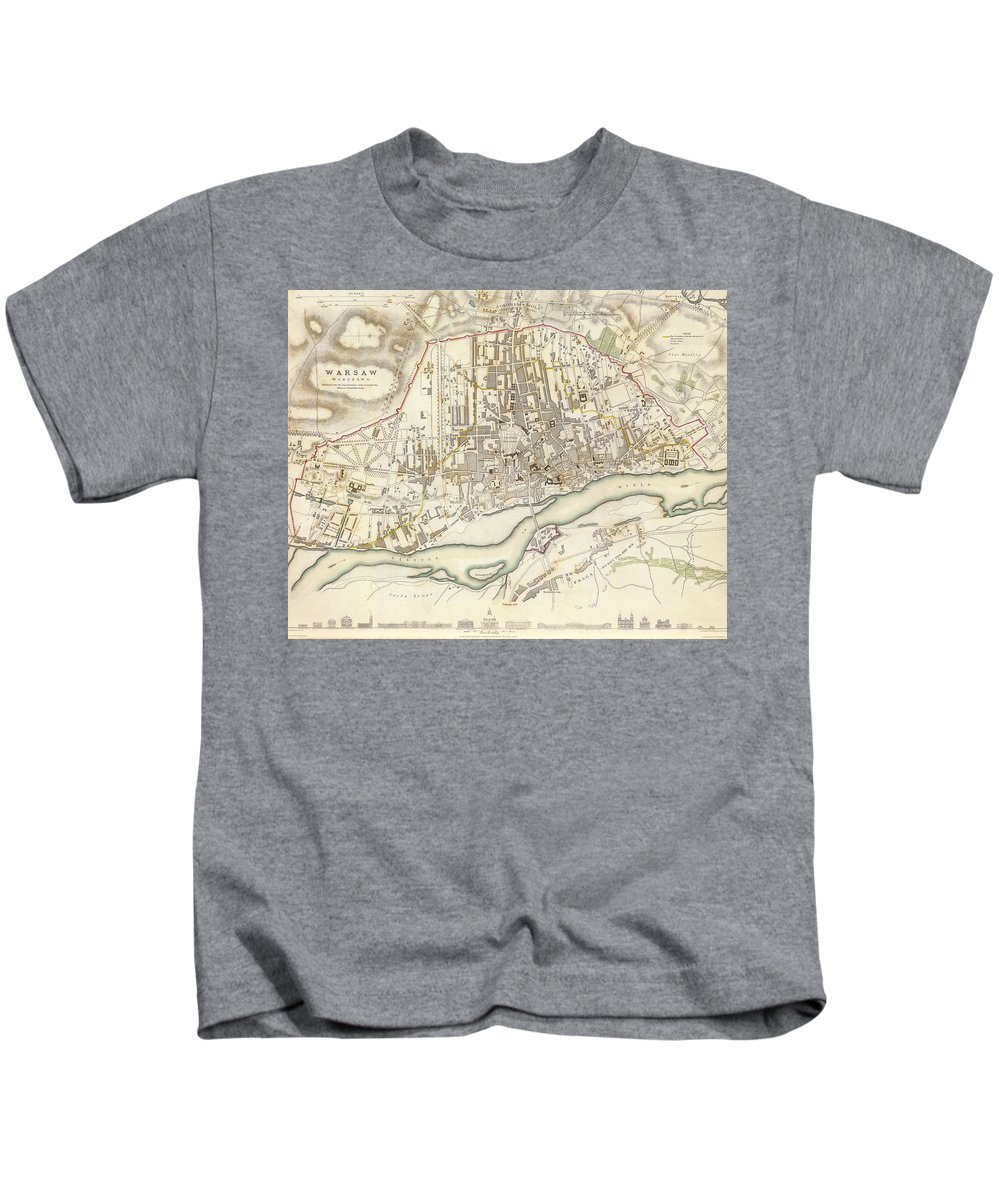 Warsaw Kids T-Shirt featuring the drawing Vintage Map Of Warsaw Poland - 1831 by CartographyAssociates