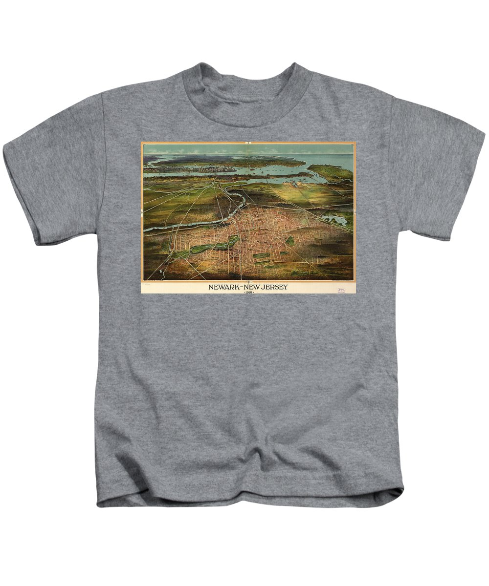 Newark Kids T-Shirt featuring the drawing Vintage Pictorial Map Of Newark Nj - 1916 by CartographyAssociates