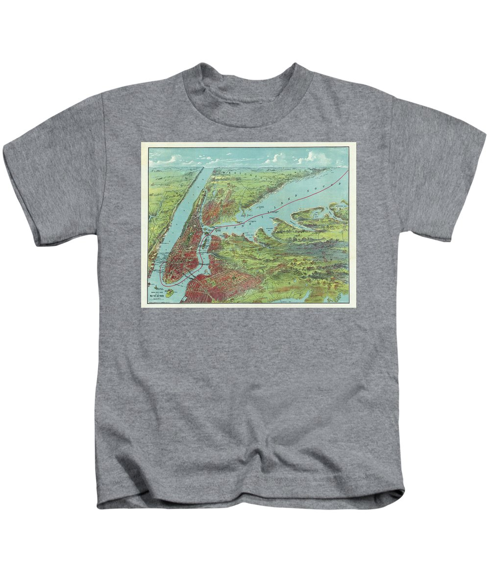 New York City Map Kids T-Shirt featuring the drawing Vintage Pictorial Map Of Of New York City - 1909 by CartographyAssociates