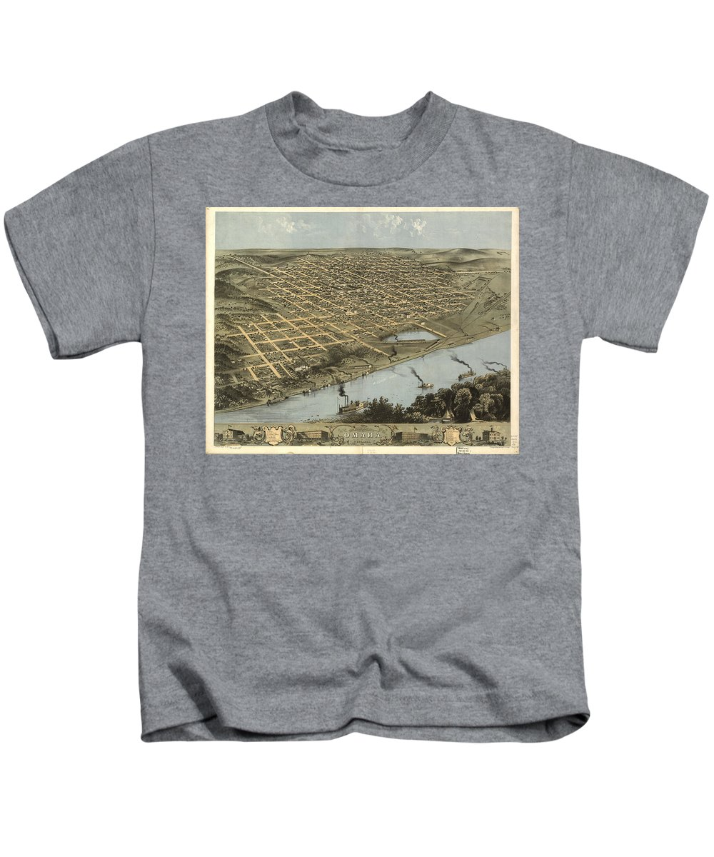 Omaha Kids T-Shirt featuring the drawing Vintage Pictorial Map Of Omaha Nebraska - 1868 by CartographyAssociates