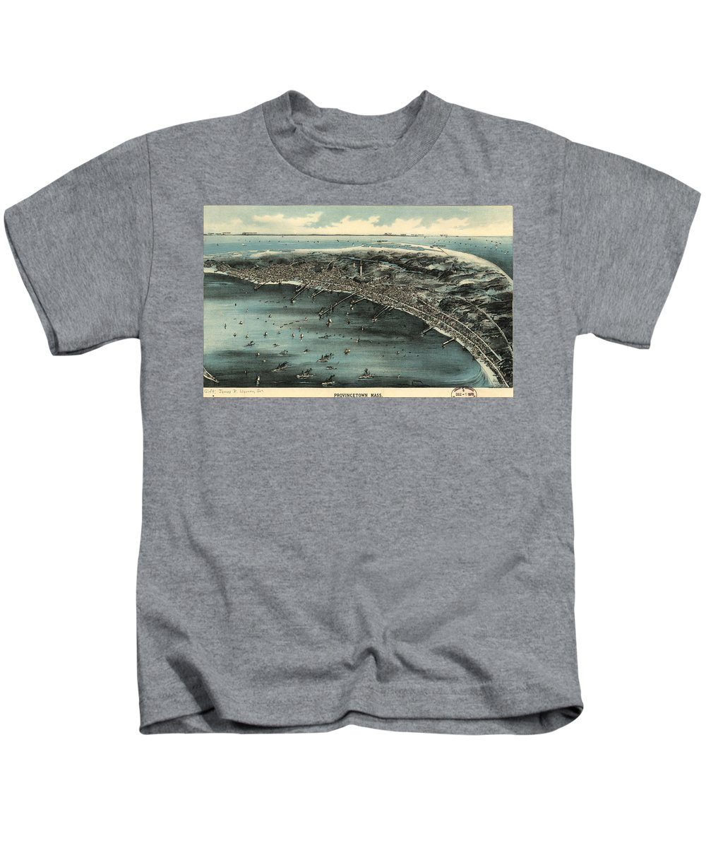 Provincetown Kids T-Shirt featuring the drawing Vintage Pictorial Map Of Provincetown - 1910 by CartographyAssociates