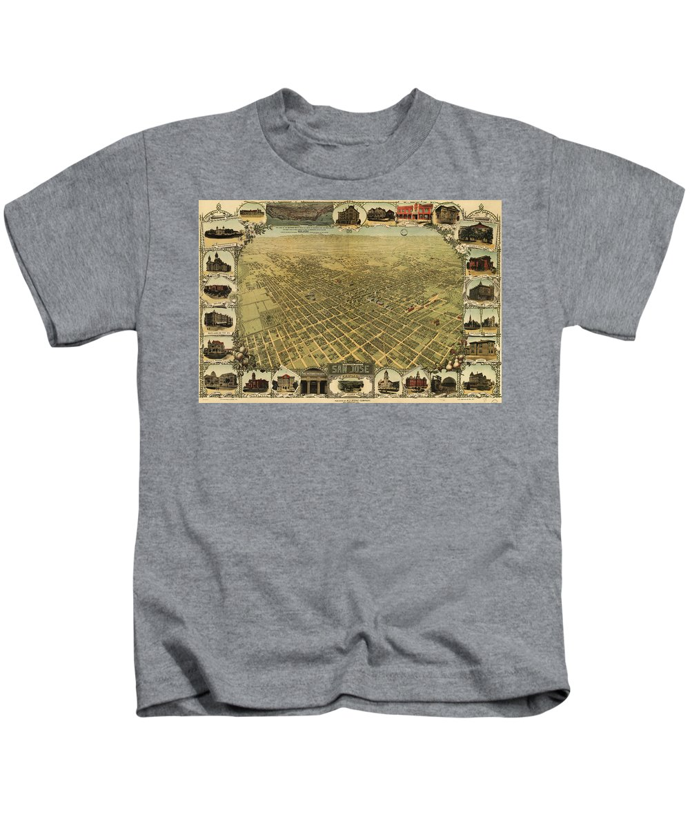 San Jose Kids T-Shirt featuring the drawing Vintage Pictorial Map Of San Jose Ca - 1901 by CartographyAssociates