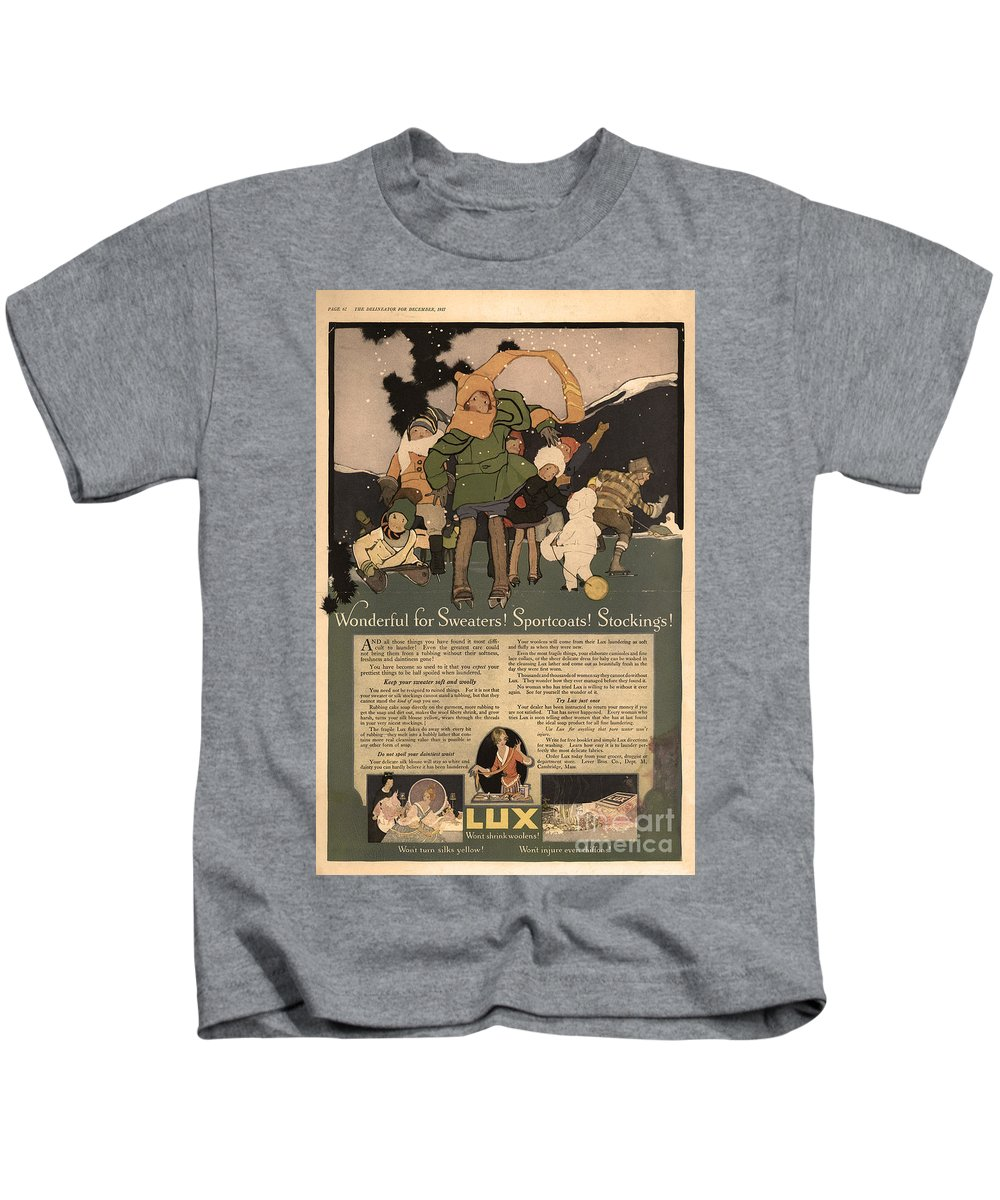 Ephemera Kids T-Shirt featuring the digital art Sweaters Sportcoats And Stockings Vintage Soap Ad 1917 Winter by Anne Kitzman