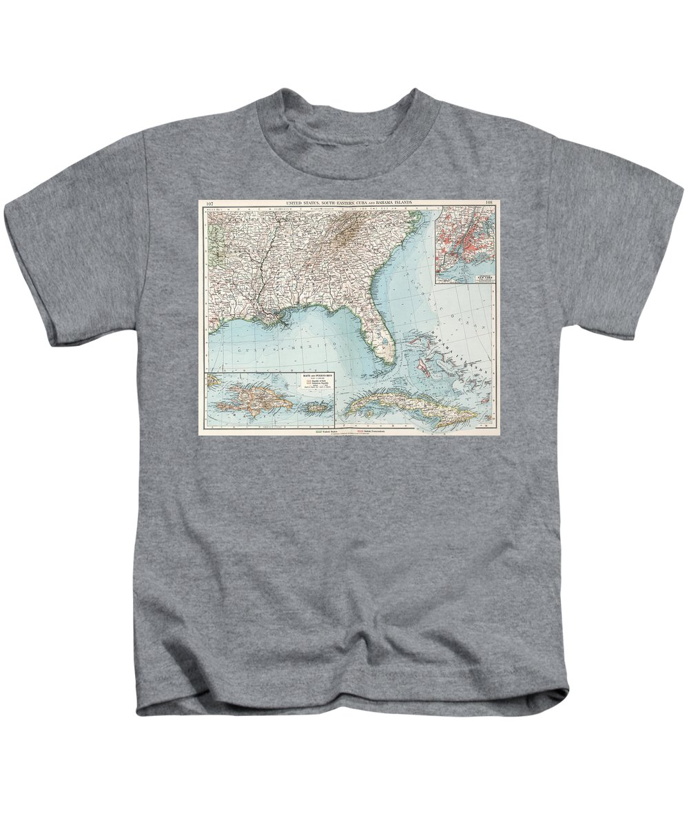 Southeastern United States Kids T-Shirt featuring the drawing Vintage Southeastern Us And Caribbean Map - 1900 by CartographyAssociates