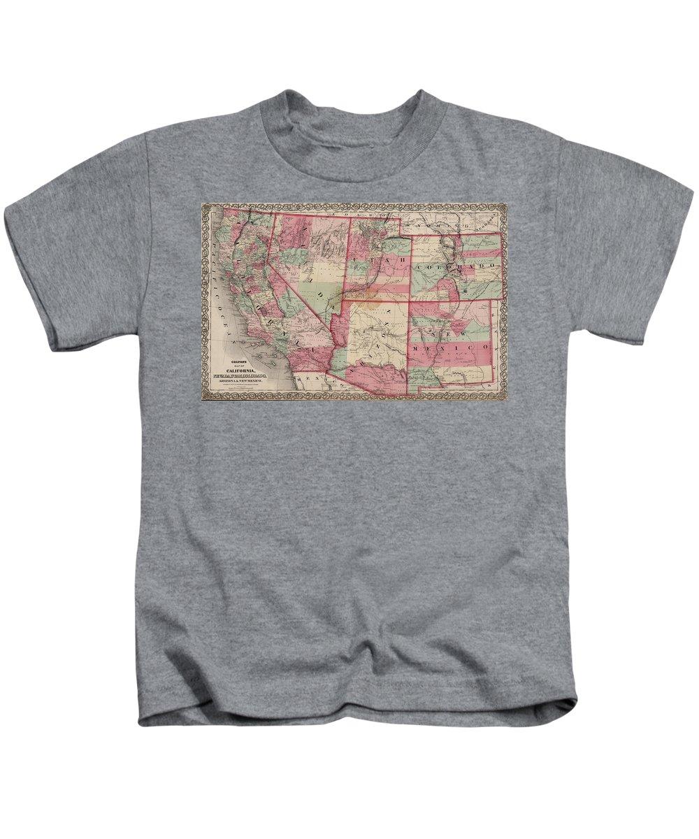 Southwestern United States Kids T-Shirt featuring the drawing Vintage Southwestern United States Map - 1869 by CartographyAssociates