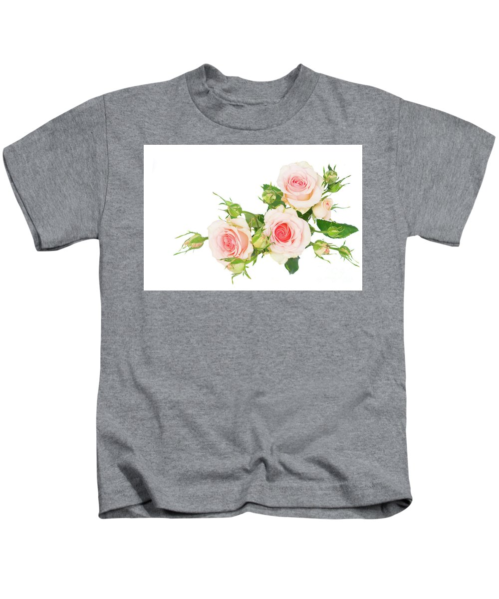 Rose Kids T-Shirt featuring the photograph Garden Roses And Buds by Anastasy Yarmolovich