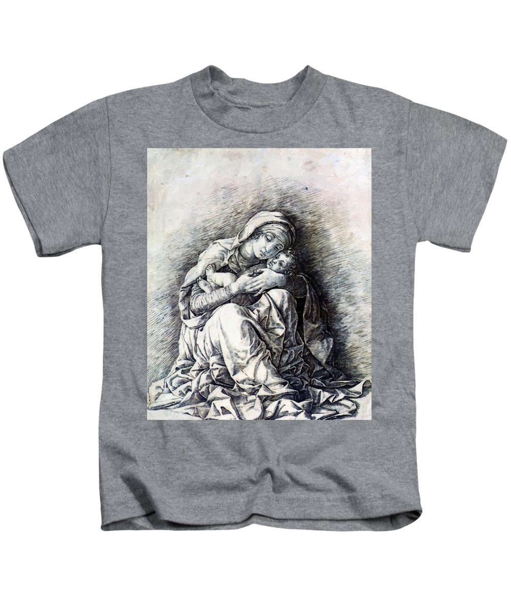 Virgin Kids T-Shirt featuring the painting Virgin And Child Madonna Of Humility 1490 by Mantegna Andrea