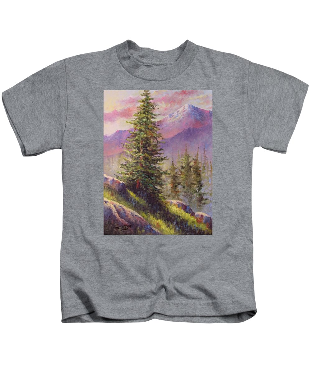 Mountain Kids T-Shirt featuring the painting Vista View by David G Paul