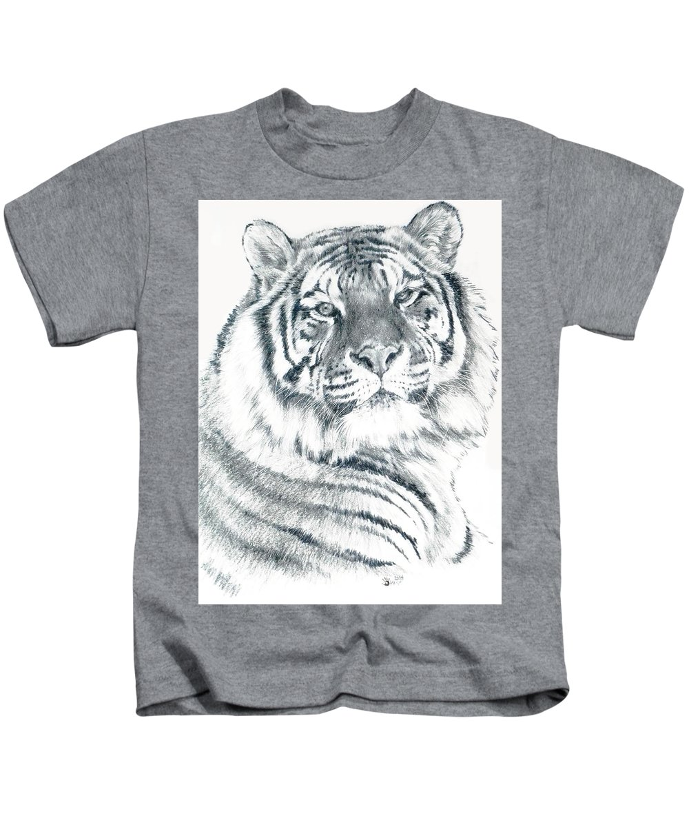 Tiger Kids T-Shirt featuring the drawing Voyager by Barbara Keith