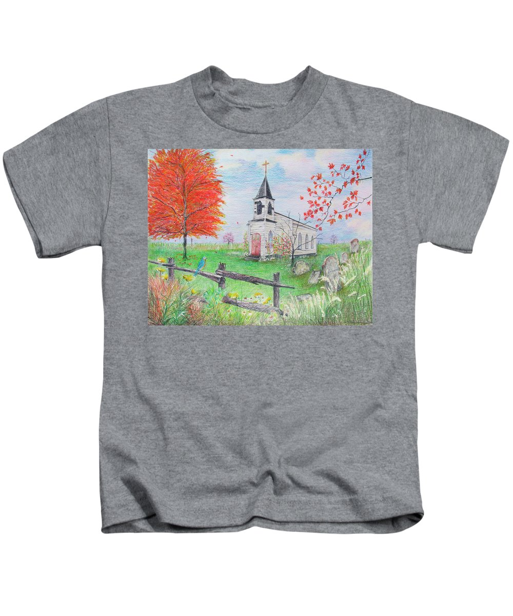 Spiritual Kids T-Shirt featuring the drawing Waiting by Becky Brooks