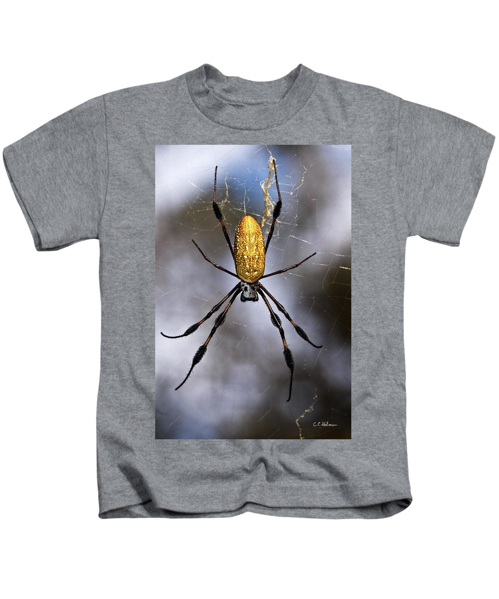 Golden Silk Orb-weaver Kids T-Shirt featuring the photograph Waiting by Christopher Holmes