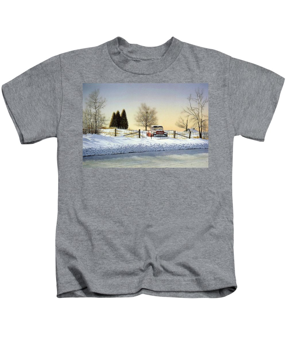 Landscape Kids T-Shirt featuring the painting Waiting For Spring by Conrad Mieschke