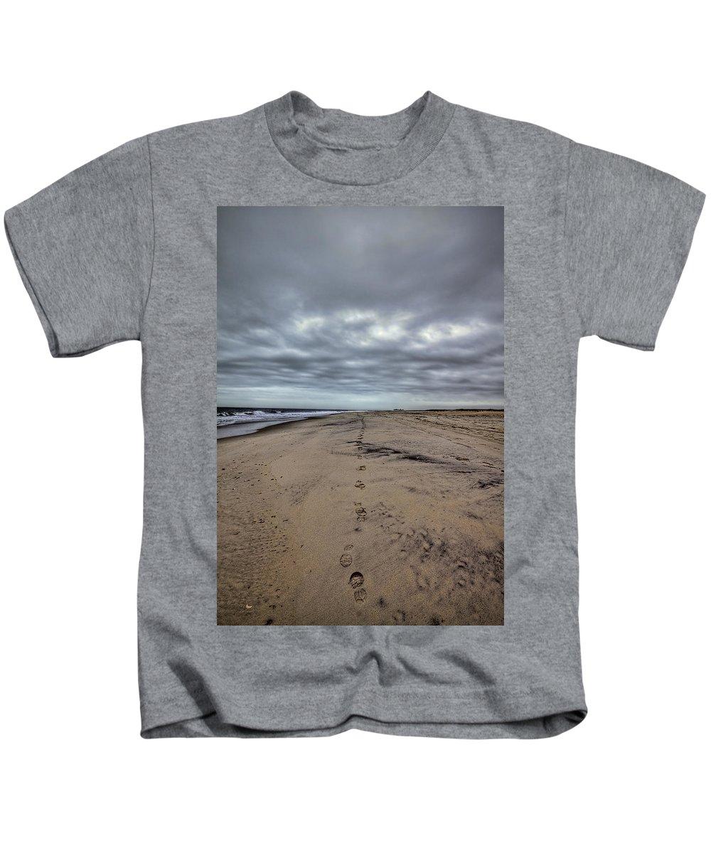 Beach Kids T-Shirt featuring the photograph Walk The Line by Evelina Kremsdorf