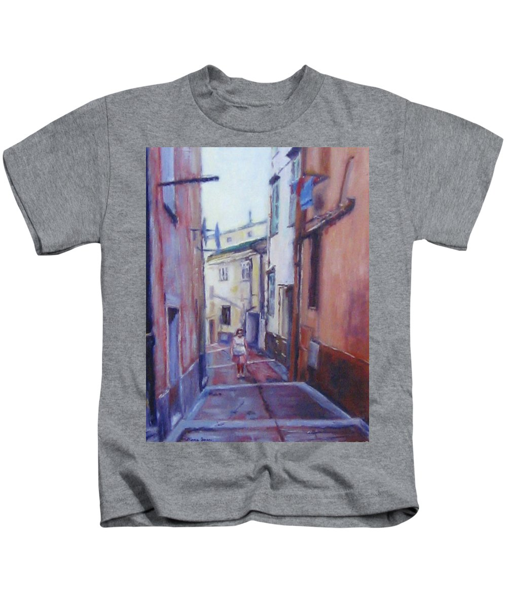 Menton Kids T-Shirt featuring the painting Walking Around Menton France by Diane Quee