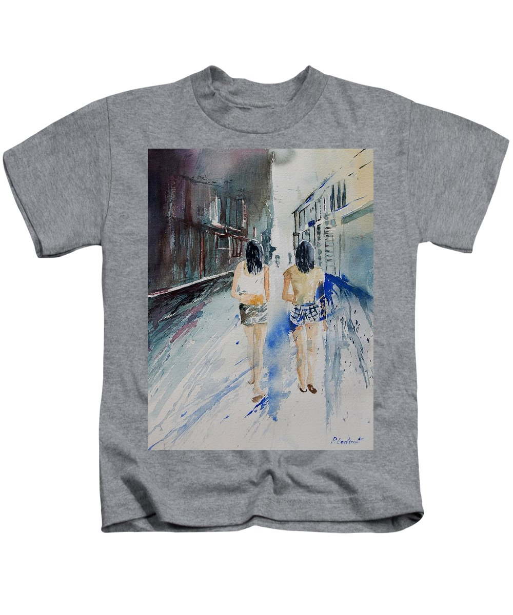Girl Kids T-Shirt featuring the painting Walking in the street by Pol Ledent