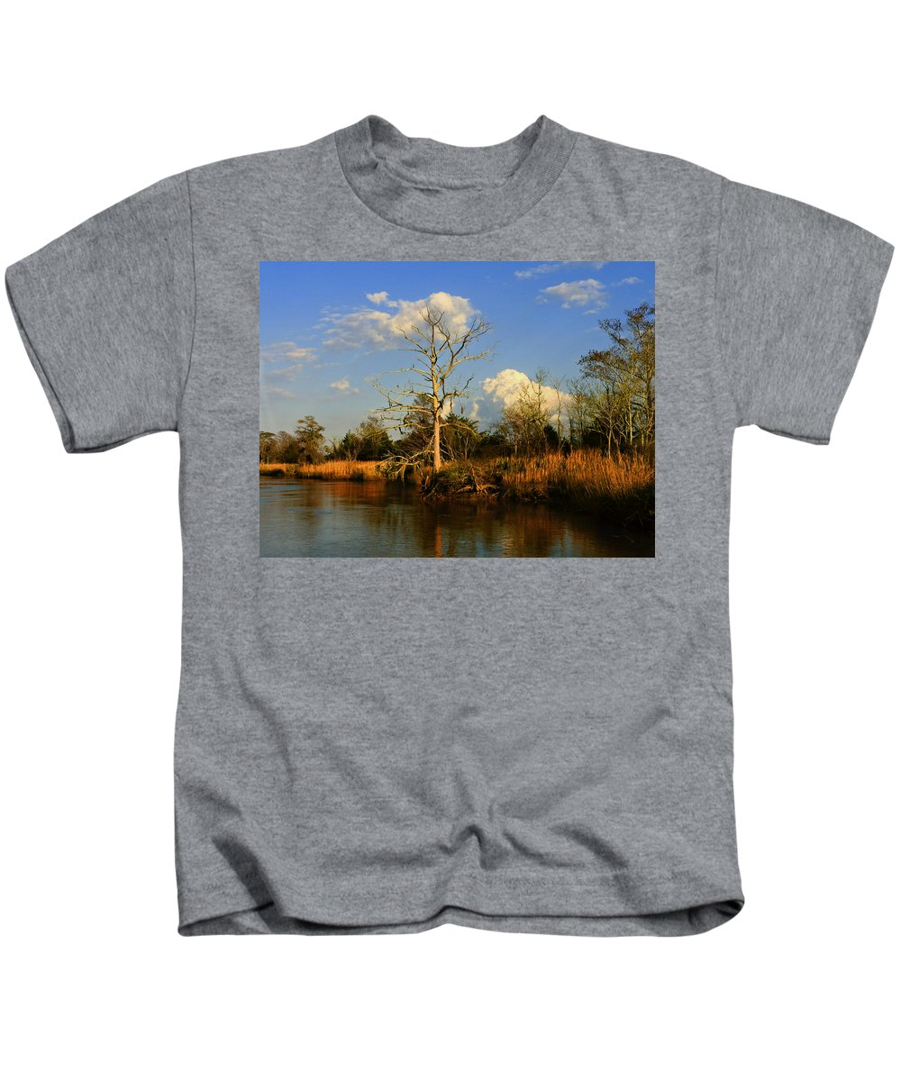 Weather Kids T-Shirt featuring the photograph Warm Weather Clouds by Laura Ragland