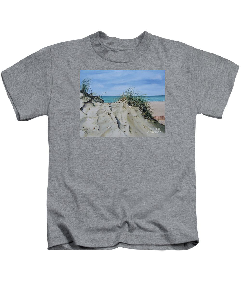 Lake Kids T-Shirt featuring the painting Warren Dunes by Mary Rogers