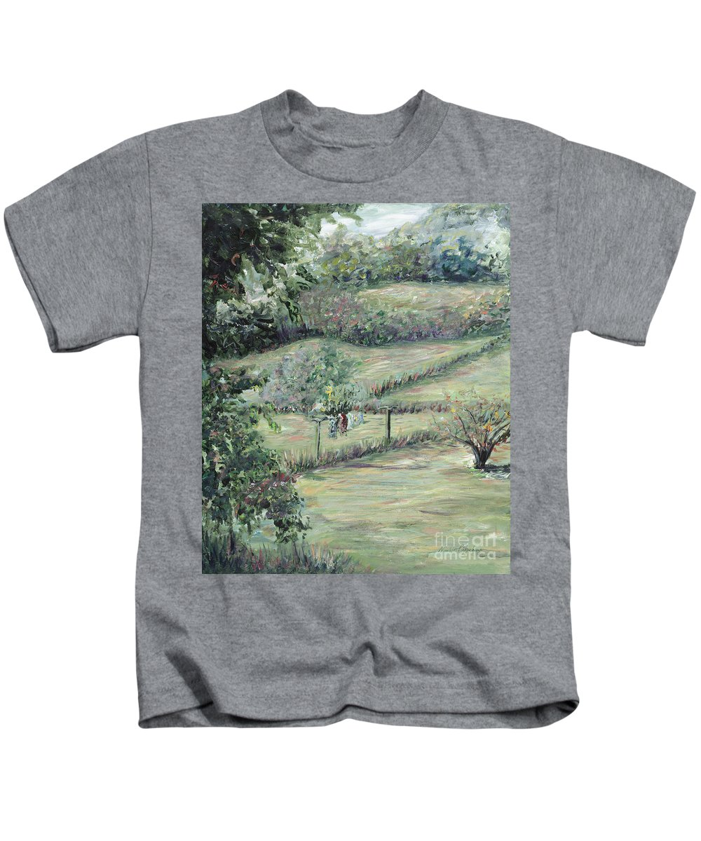 Landscape Kids T-Shirt featuring the painting Washday In Provence by Nadine Rippelmeyer