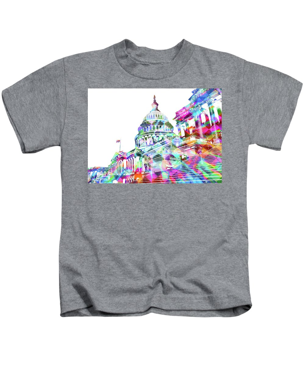 Capitol Kids T-Shirt featuring the painting Washington Capitol Color 2 by Tony Rubino