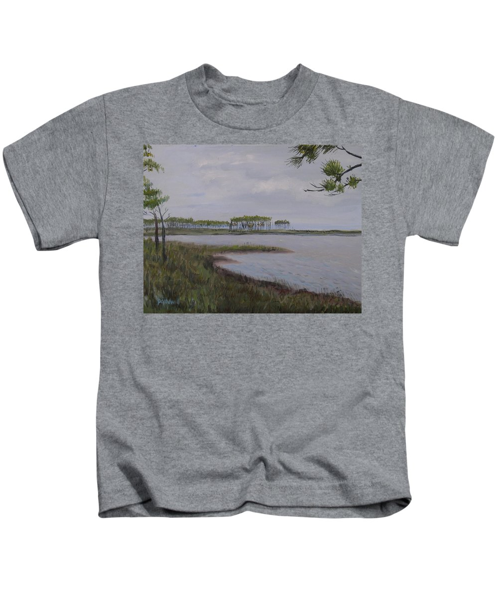 Landscape Beach Coast Tree Water Kids T-Shirt featuring the painting Water Color by Patricia Caldwell