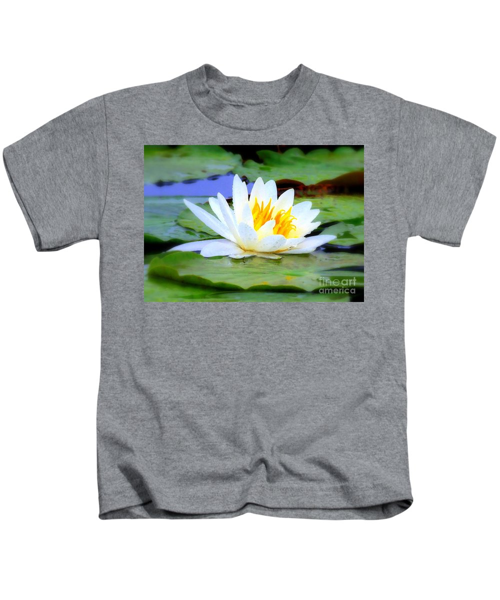 Water Lily Kids T-Shirt featuring the photograph Water Lily - Digital Painting by Carol Groenen
