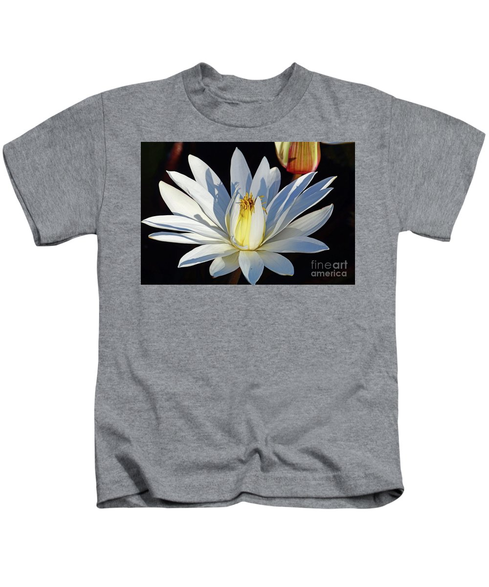 Water Kids T-Shirt featuring the photograph Water Lily At Dusk by Cindy Manero