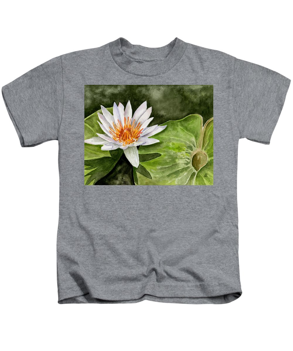 Flower Floral Water Lily Watercolor Kids T-Shirt featuring the painting Water Lily by Brenda Owen