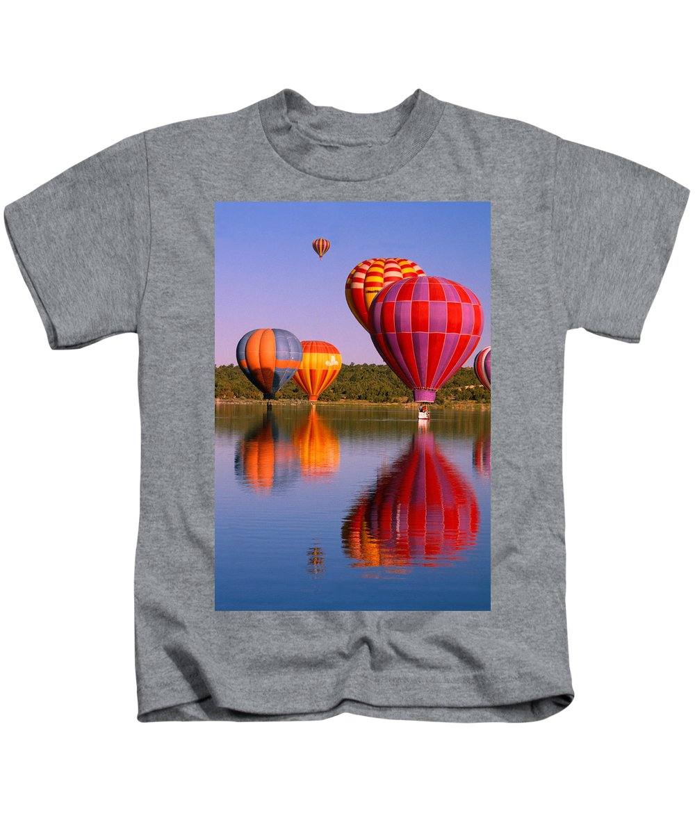 Hot Air Balloons Kids T-Shirt featuring the photograph Water Skippers by Jerry McElroy