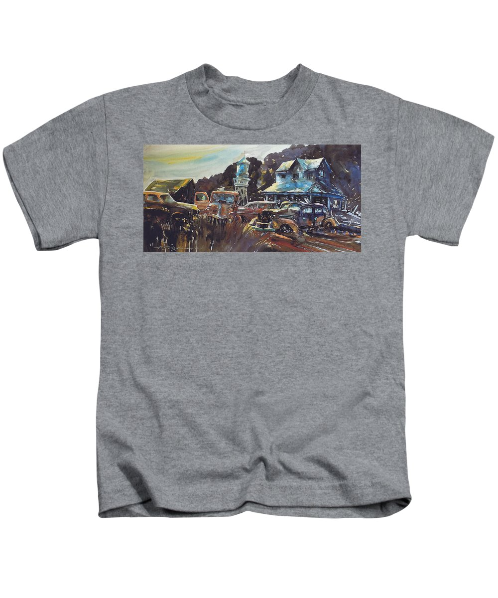 Old Cars Kids T-Shirt featuring the painting Water Tower Wardens by Ron Morrison