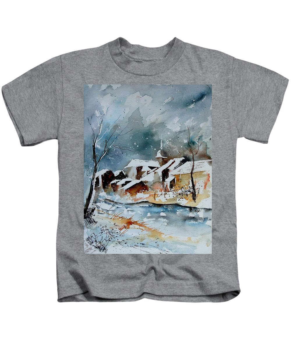 Winter Kids T-Shirt featuring the painting Watercolor 190607 by Pol Ledent
