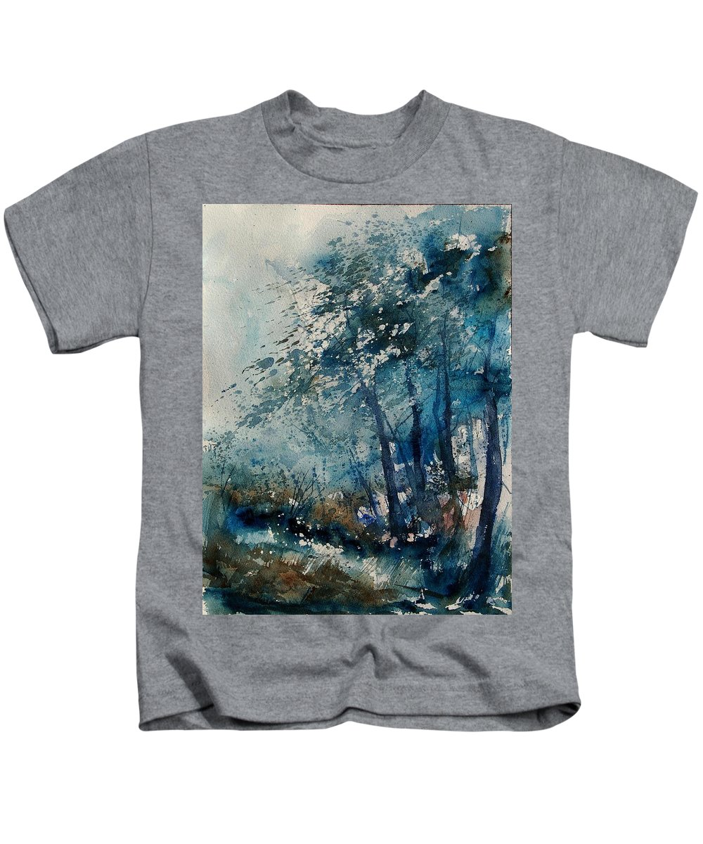 Winter Kids T-Shirt featuring the painting Watercolor 220907 by Pol Ledent