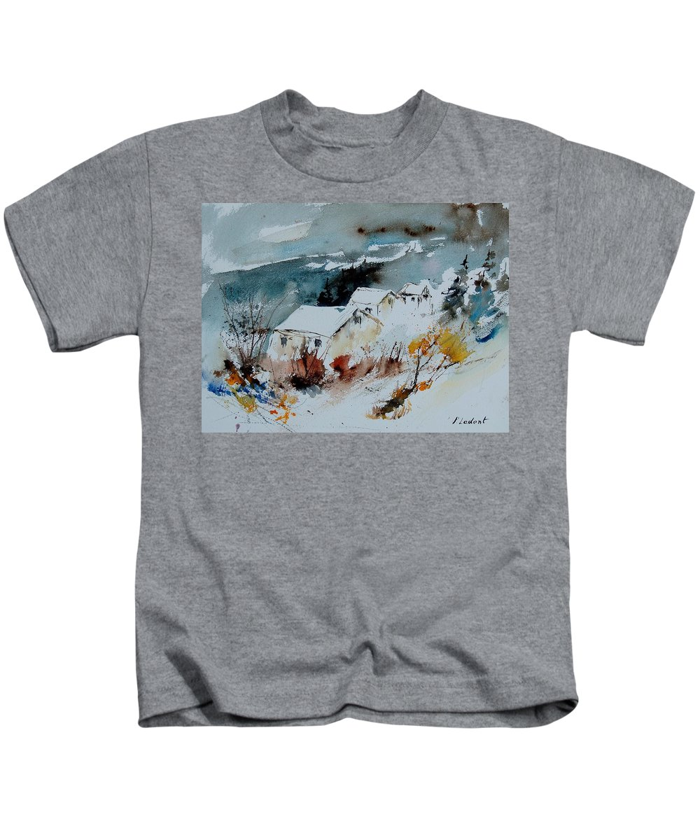 Winter Kids T-Shirt featuring the painting Watercolor 9090723 by Pol Ledent