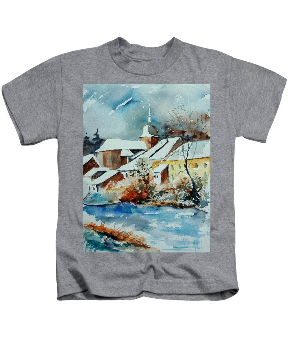 Landscape Kids T-Shirt featuring the painting Watercolor Chassepierre by Pol Ledent